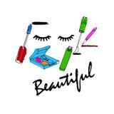 Acessórios da composição ajustados Escova, pó, batom, lápis do olho, nai ilustração stock