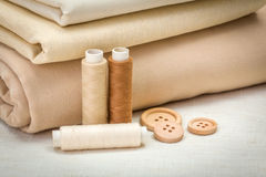 Acessórios da costura de Brown Fotografia de Stock Royalty Free