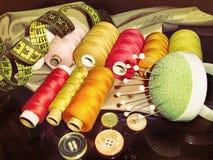 Acessórios da costura, foto do vintage fotos de stock