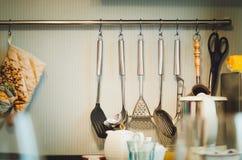 Acessórios da cozinha Projeto da cozinha moderna fotografia de stock
