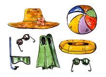 Acessórios da natação do verão Chapéu, aletas, snorkle, bola, anel e vidros Grupo tirado mão da aquarela ilustração royalty free