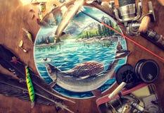 Acessórios da pesca na tabela ilustração royalty free
