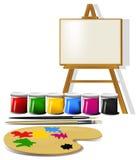 Acessórios da pintura ilustração stock