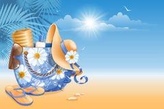 Acessórios da praia ilustração stock