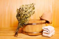 Acessórios da sauna fotografia de stock royalty free