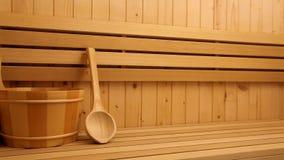 Acessórios da sauna, fim acima vídeos de arquivo