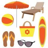Acessórios das férias de verão no estilo liso, grupo Espreguiçadeira, deslizadores, vidros de sol, guarda-chuva de sol, bola infl ilustração do vetor