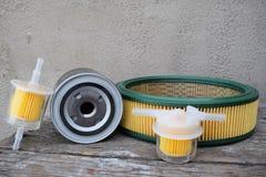 Acessórios das peças de automóvel: filtro do óleo, do combustível ou de ar para o carro do motor imagem de stock