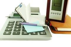 Acessórios de desktop do escritório Foto de Stock