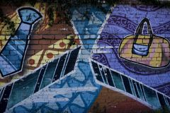 Acessórios de roupa coloridos da arte da rua fotografia de stock royalty free