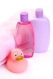 Acessórios do banho do bebê foto de stock