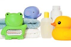 Acessórios do banho do bebê isolados Foto de Stock Royalty Free
