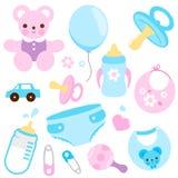 Acessórios do bebê em cores azuis e cor-de-rosa Coleção do vetor ilustração do vetor