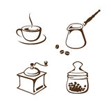 Acessórios do café ajustados isolados no fundo branco Fotos de Stock