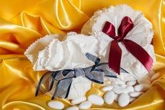 Acessórios do casamento no papel Foto de Stock Royalty Free