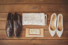Acessórios do casamento, sapatas do casamento Imagens de Stock