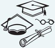 Acessórios do estudante. Tampão, pontos e diploma da graduação ilustração royalty free