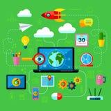Acessórios do mercado do Internet para a Web Fotos de Stock