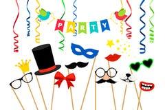 Acessórios do partido de Carnaval ilustração royalty free