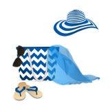 Acessórios do verão da forma Óculos de sol, chapéu, saco e flip-flops ilustração do vetor