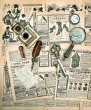 Acessórios do vintage e ferramentas da escrita, compartimento de forma velho fotografia de stock royalty free