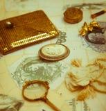 Acessórios do vintage no sepia Foto de Stock