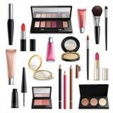 Acessórios dos cosméticos da composição realísticos Coleção dos artigos ilustração stock
