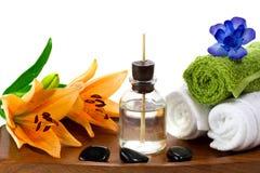 Acessórios dos termas com petróleos do aroma Fotos de Stock