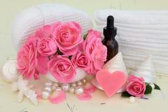 Acessórios dos termas de Rosa Fotografia de Stock Royalty Free