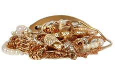 Acessórios dourados ricos isolados Imagem de Stock Royalty Free