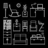 Acessórios e ícones home da mobília ilustração royalty free