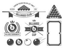 Acessórios e emblemas dos bilhar ilustração royalty free