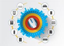 Acessórios e equipamento dos dispositivos do computador Imagens de Stock