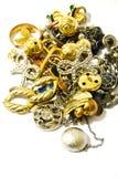 Acessórios e jóia de prata dourados Imagens de Stock