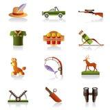 Acessórios e símbolos do caçador ilustração do vetor