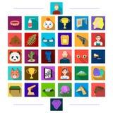Acessórios, higiene, matérias têxteis e o outro ícone da Web no estilo liso cabeça, animal, realizações, ícones na coleção do gru ilustração do vetor