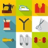 Acessórios para costurar os ícones da oficina ajustados Foto de Stock Royalty Free