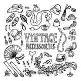 Acessórios 20s_set do vintage ilustração royalty free