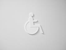 Acesso da cadeira de rodas no branco Fotos de Stock Royalty Free