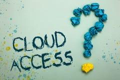Acesso da nuvem do texto da escrita A ferramenta de software do significado do conceito entre a organização e o fornecedor amarro imagens de stock