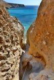 Acesso da praia de Tsigrado Milos Ilhas de Cyclades Greece Fotografia de Stock Royalty Free