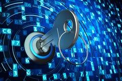 Acesso de dados da segurança, proteção de dados do computador e conceito da segurança da informação Imagem de Stock