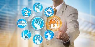 Acesso de Unlocking Secure Data do gerente em IoT fotografia de stock