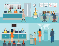 Acesso público aos serviços financeiros aos bancos Ilustração do Vetor