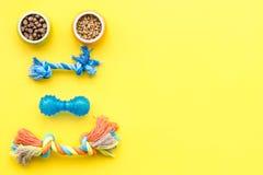 Acessories для холить собаки Еда и игрушки для собак Желтый модель-макет взгляд сверху предпосылки Стоковые Фотографии RF