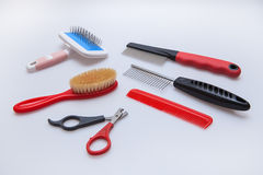Acessories for the grooming of cats and dogs royalty free stock images