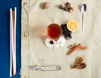Acessories planos del té de la endecha fijados Imagenes de archivo
