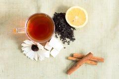 Acessories planos del té de la endecha fijados Fotos de archivo libres de regalías