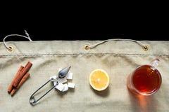 Acessories planos del té de la endecha fijados Foto de archivo