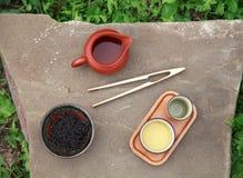 Acessórios da cerimônia de chá do chinês tradicional (copos e passo de chá Fotografia de Stock Royalty Free